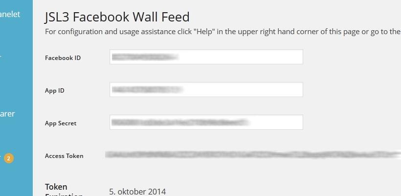 jsl3 facebook wall feed settings